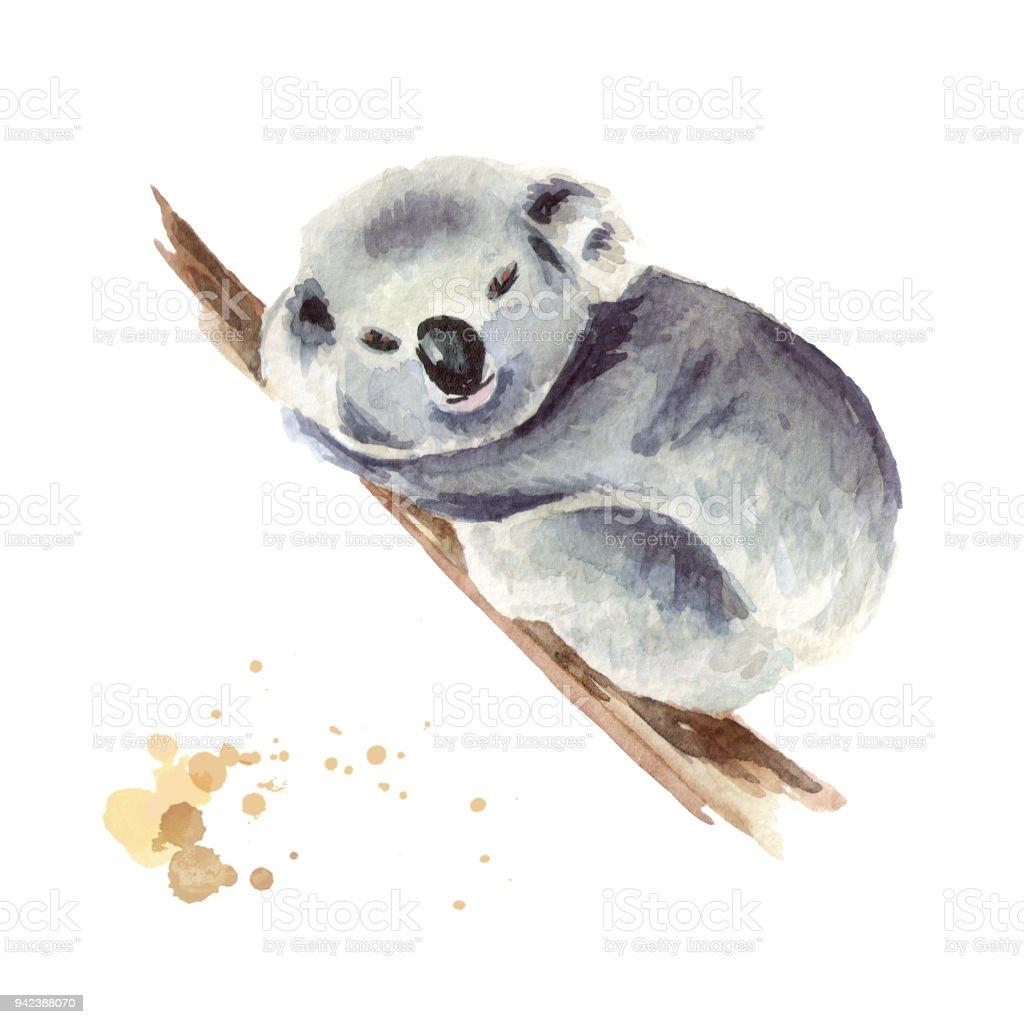 Ilustración de Pequeño Oso Koala Sentado En Una Rama De árbol ...