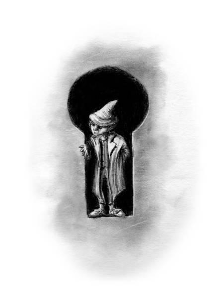 little leprechaun in a keyhole vector art illustration