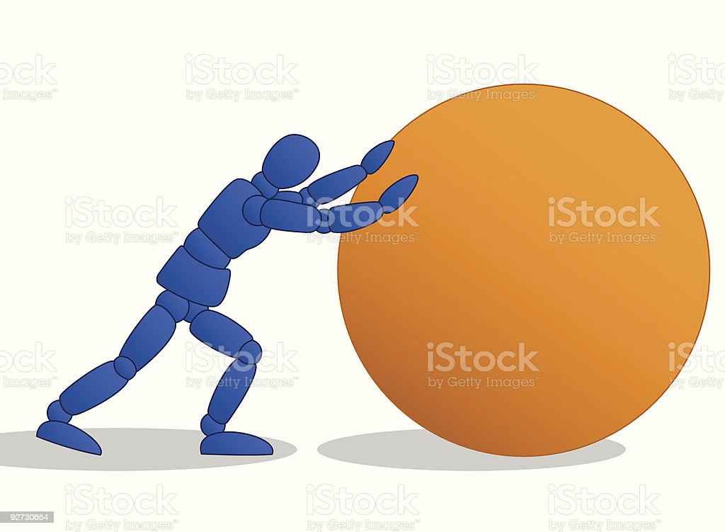 Little Man pushing large orange ball vector art illustration