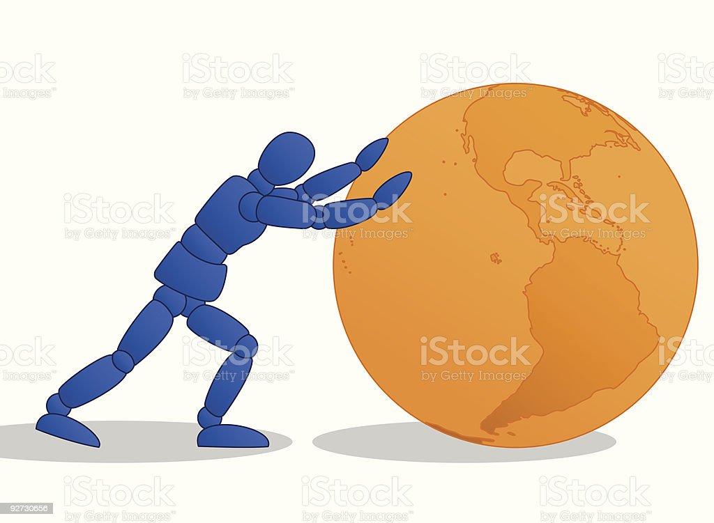 Little Man pushing orange globe royalty-free little man pushing orange globe stock vector art & more images of abstract