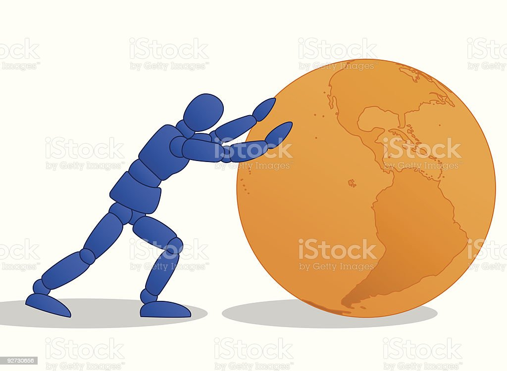 Little Man pushing orange globe vector art illustration