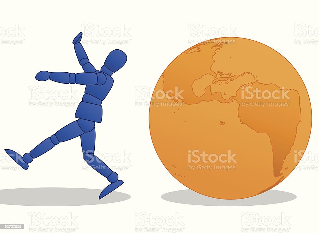 Little Man running from orange globe vector art illustration