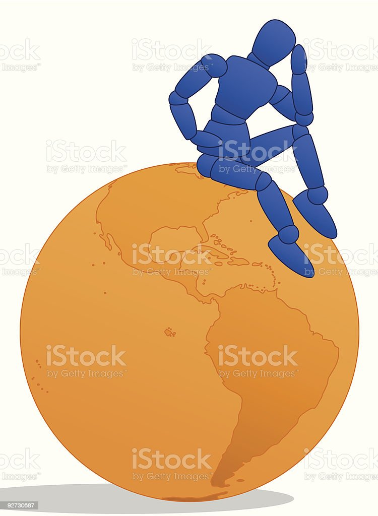 Little Man sitting on an orange globe vector art illustration