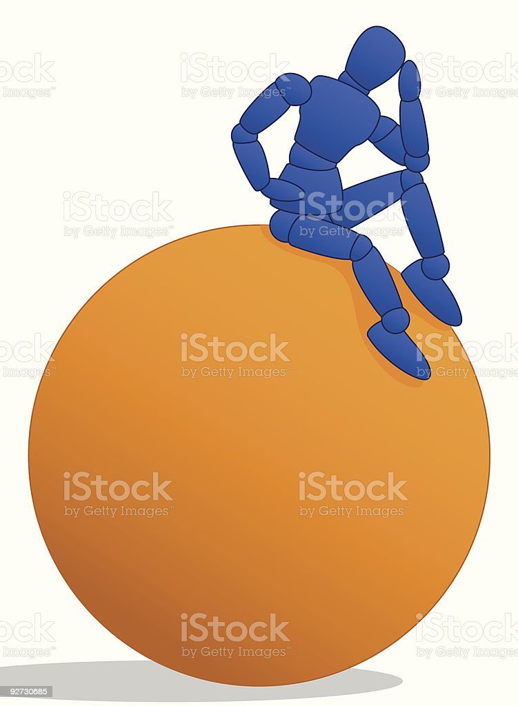 Little Man sitting on large orange ball royalty-free stock vector art