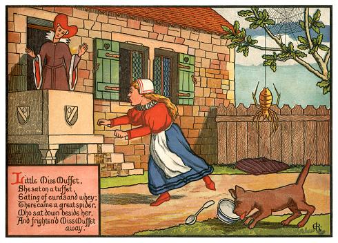 'Little Miss Muffet' - Victorian nursery rhyme illustration