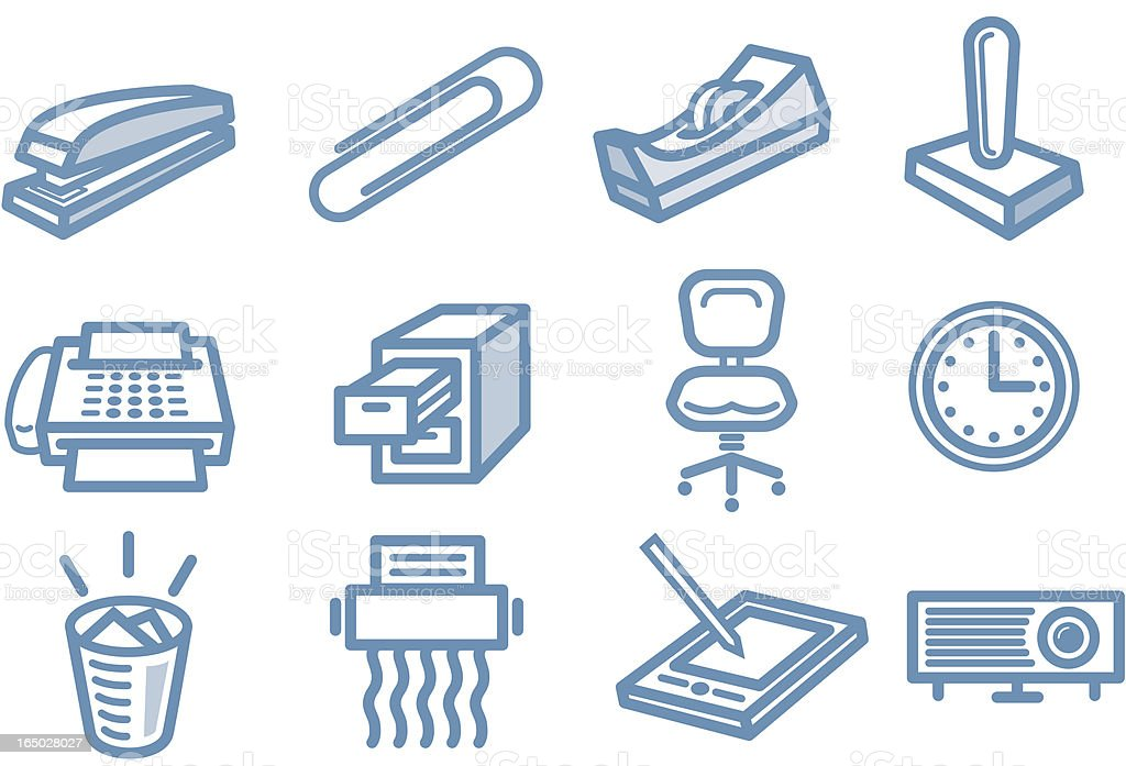Little office icons royalty-free stock vector art