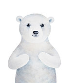 Little polar bear character. Hand drawn water color graphic painting on white background.
