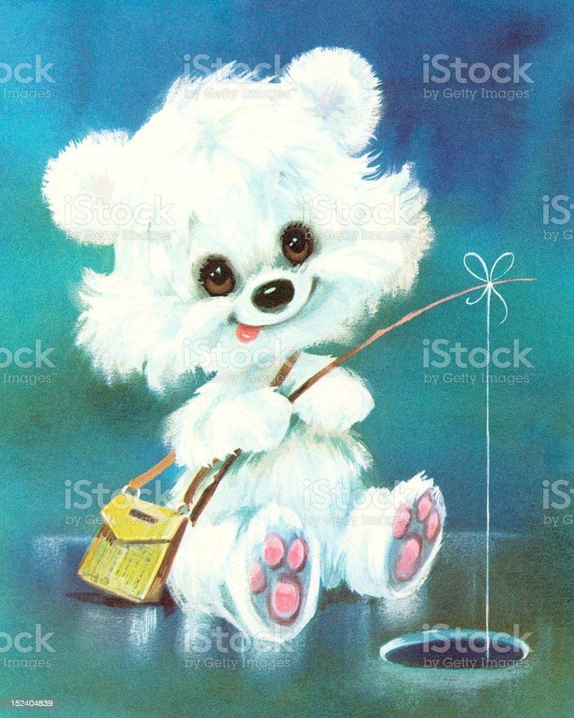 Little Polar Bear Fishing royalty-free stock vector art