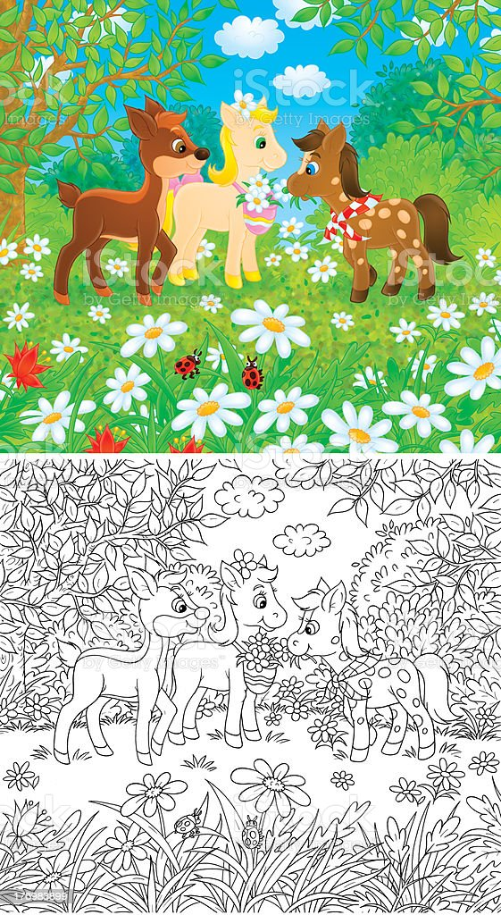 Little Ponies and Fawn vector art illustration