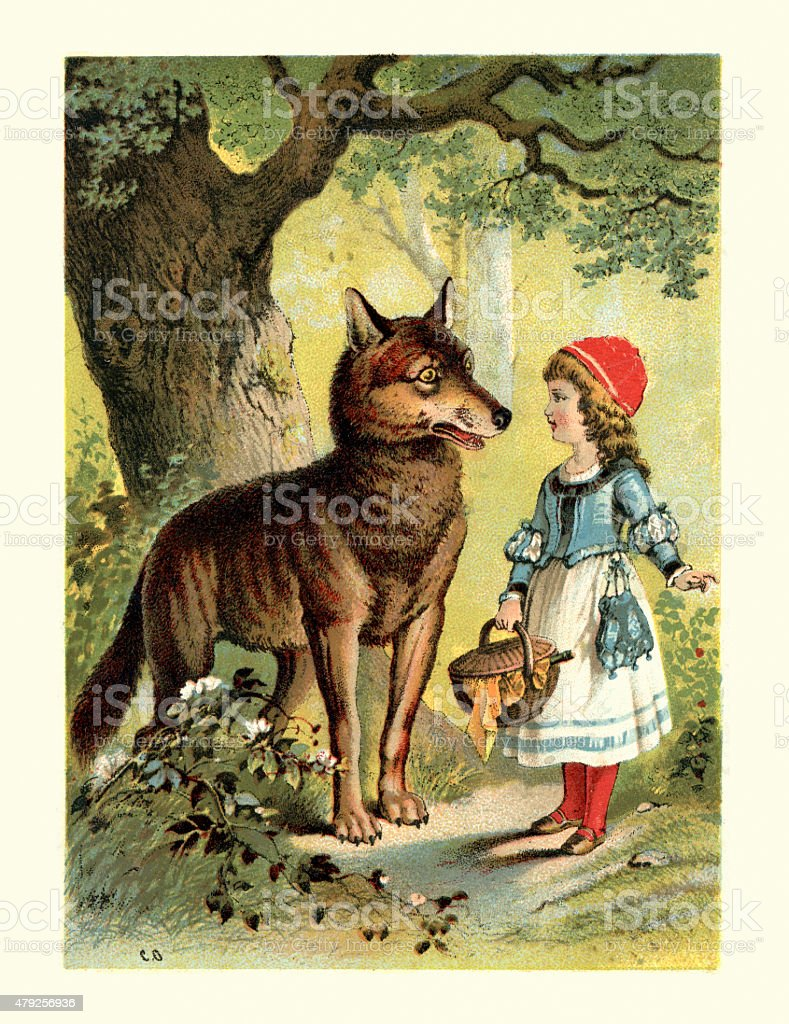 Little Red Riding Hood and the Wolf vector art illustration