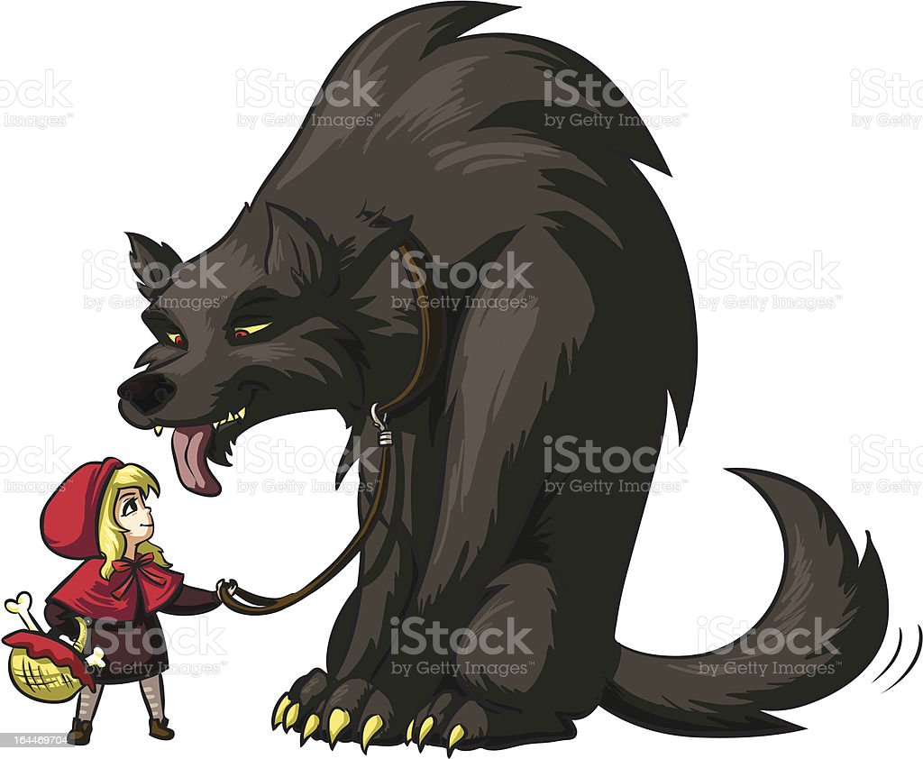 Little Red Riding Hood tames the Wolf royalty-free stock vector art