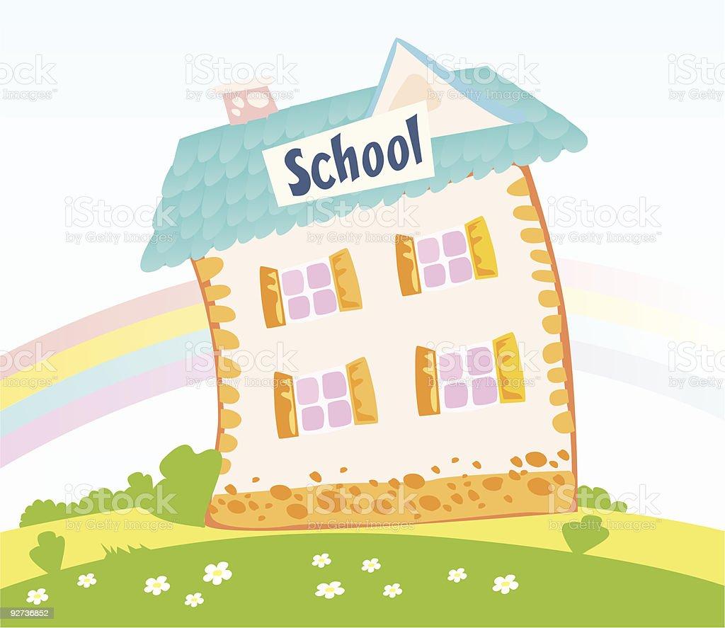 Kleine Schulhaus in der Natur Lizenzfreies kleine schulhaus in der natur stock vektor art und mehr bilder von architektur
