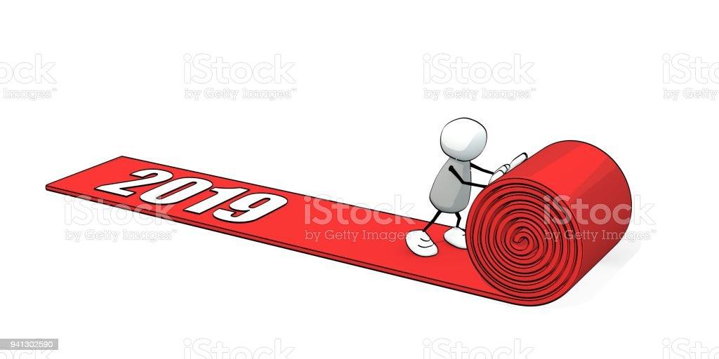 petit homme fragmentaire, dérouler un tapis rouge - 2019 - Illustration vectorielle