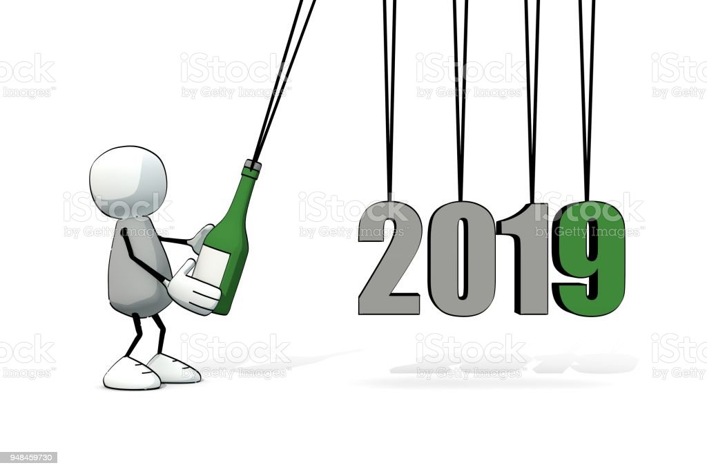 little sketchy man starting a Newton cradle with a bottle of champagne - 2019 vector art illustration