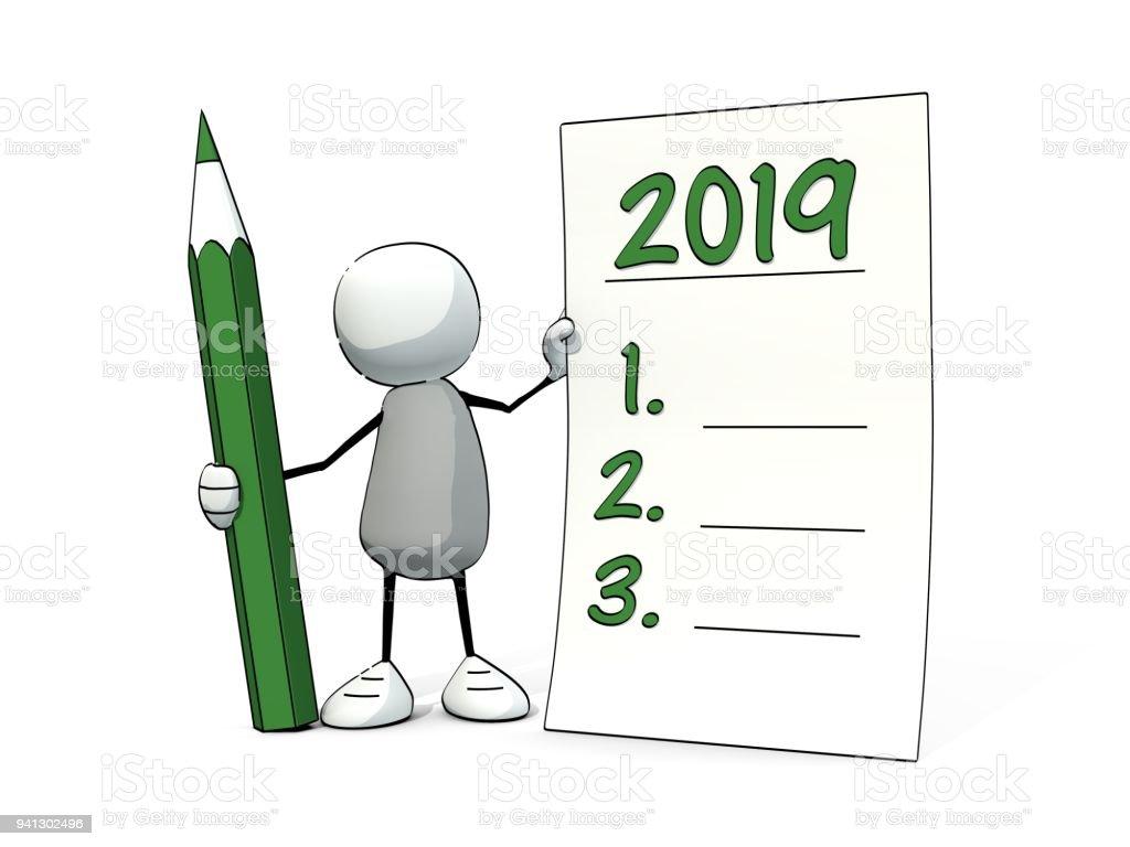 petit homme Sommaire avec le crayon en faisant des bonnes résolutions pour 2019 - Illustration vectorielle