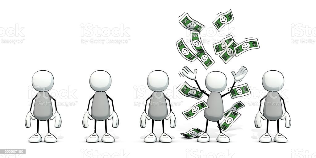 little sketchy men - one in rain of money - Illustration vectorielle