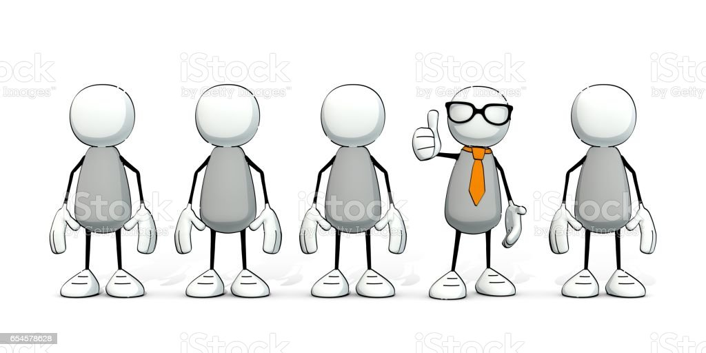 petits hommes sommaires - une avec cravate et lunettes coller le pouce en l'air - Illustration vectorielle