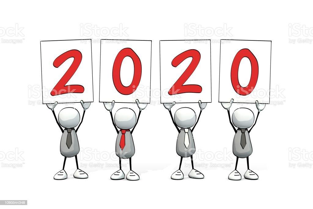petits hommes sommaires avec quatre signes - 2020 - Illustration vectorielle