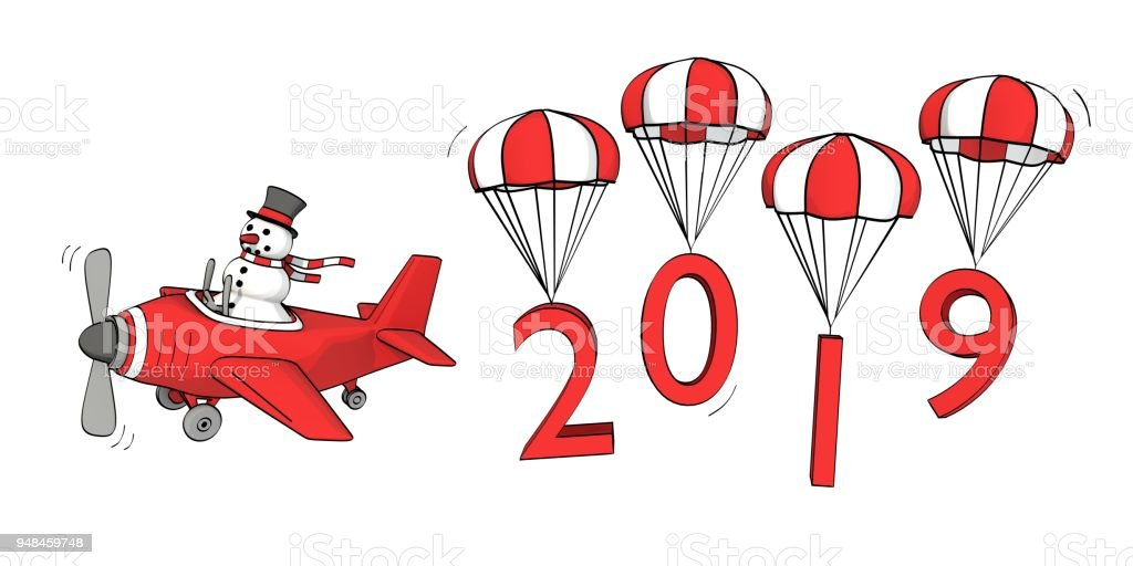 petit bonhomme de neige Sommaire voler dans un avion et l'année 2019 sur les parachutes - Illustration vectorielle