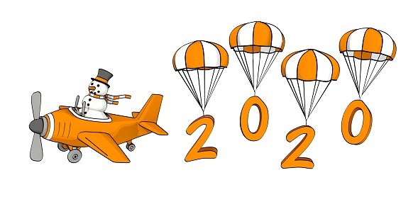 little sketchy snowman flying in a plane and the year 2020 on parachutes
