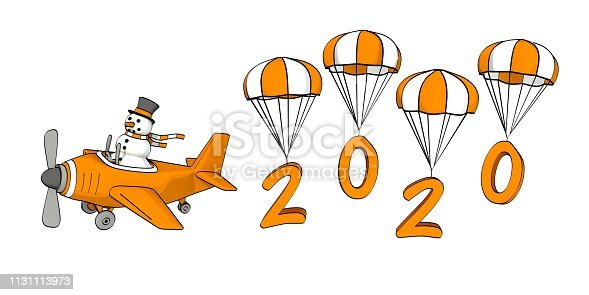 istock little sketchy snowman flying in a plane and the year 2020 on parachutes 1131113973