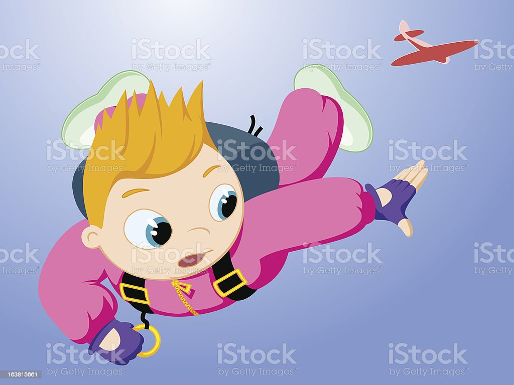 Little skydiver royalty-free stock vector art