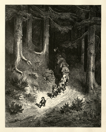 Vintage engraving of And here and there along the track dropping a pebble to guide him back. Hop O' My Thumb, Fairy Tales of Charles Perrault illustrated by Gustave Dore