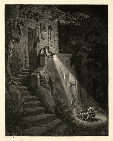 Vintage engraving of Hop-O'-My-Thumb and his brothers at the home of the Ogre. Hop O' My Thumb, Fairy Tales of Charles Perrault illustrated by Gustave Dore