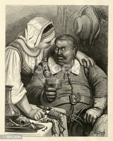 Vintage engraving of the Ogre and his wife. Hop O' My Thumb, Fairy Tales of Charles Perrault illustrated by Gustave Dore