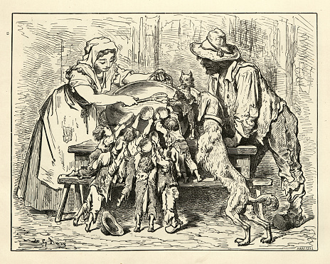 Vintage engraving of Little Tom Thumb, They ate with an appetite it did their parents good to see. Hop O' My Thumb, Fairy Tales of Charles Perrault illustrated by Gustave Dore