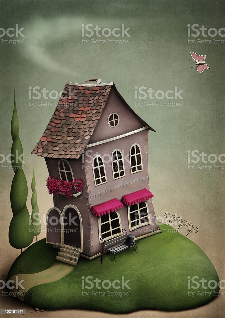 Little toy house on the hill. vector art illustration
