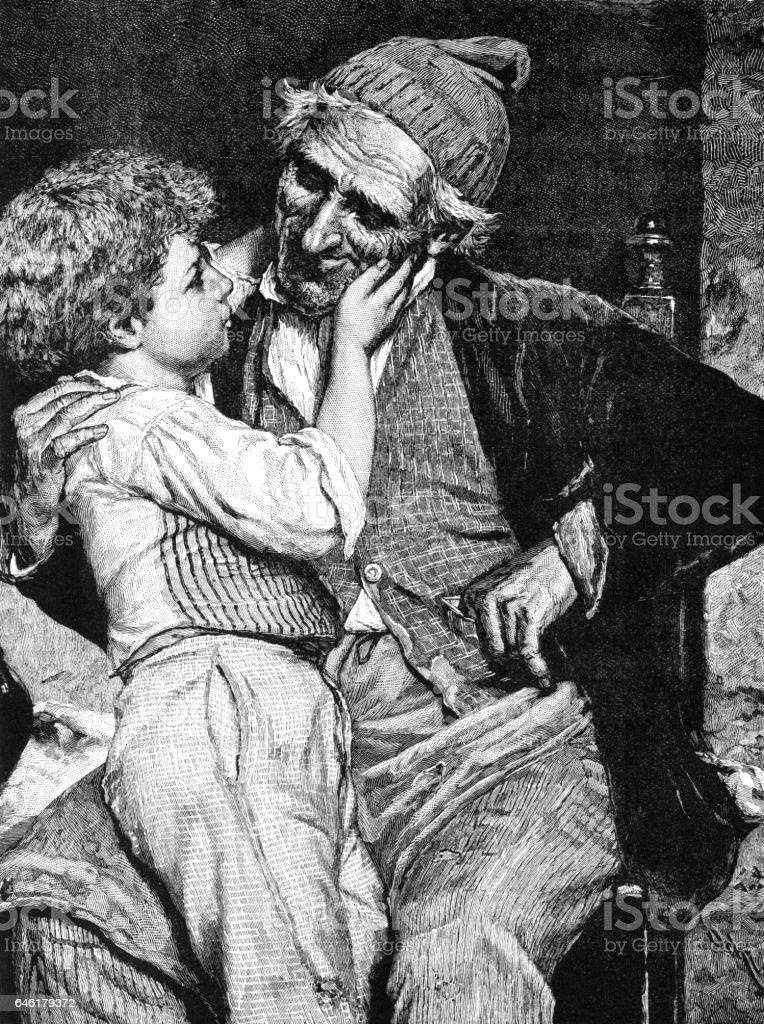 Niño victoriano con su abuelo - ilustración de arte vectorial