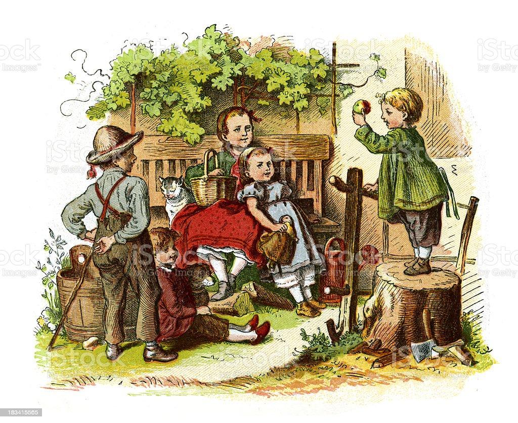Little victorian children royalty-free stock vector art