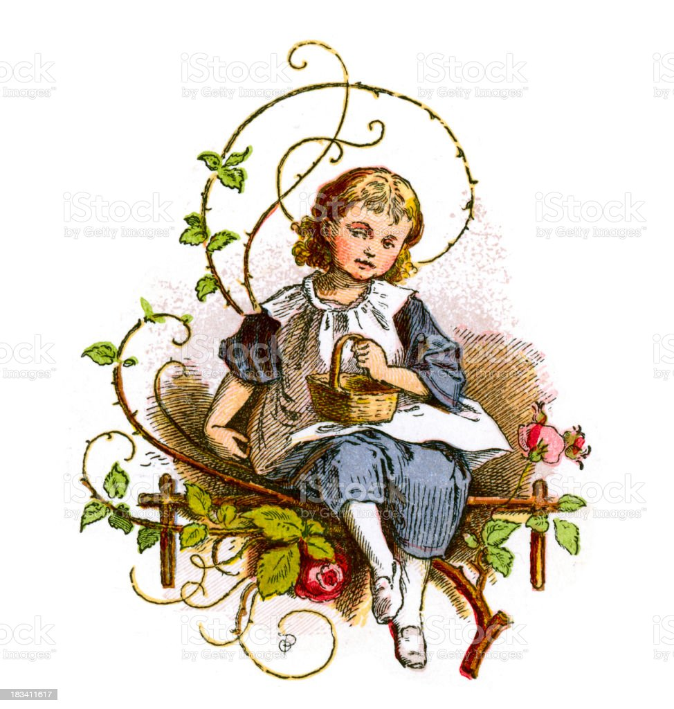 Little Victorian Girl royalty-free stock vector art