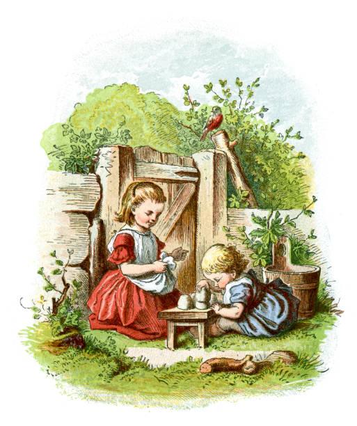 Little Victorian Girl playing in the Garden vector art illustration