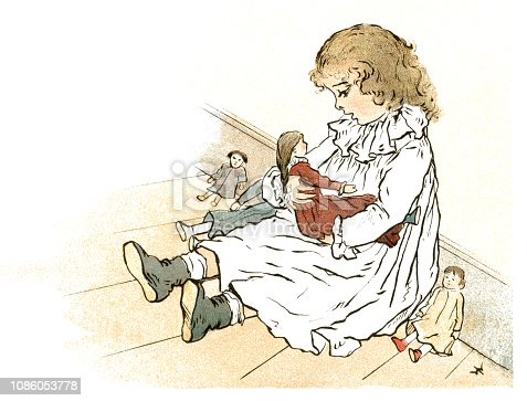 "A little Victorian girl sitting on the floor playing with her dolls: she is rocking one in her arms and appears to be singing to it. From ""Wee Babies - Printed in Colour from Original Designs by Ida Waugh"". Published in London by Griffith & Farran and New York by E.P. Dutton & Co in 1882."