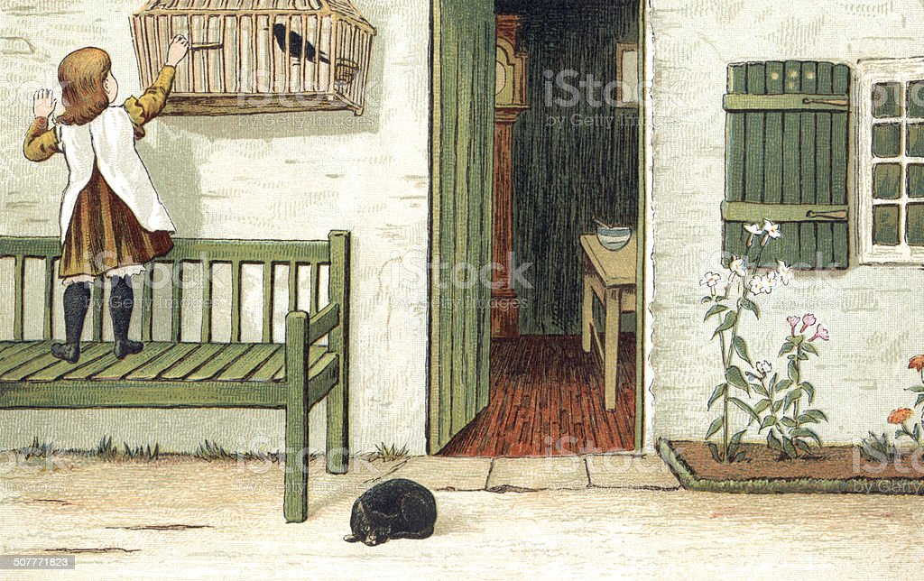 Little Victorian girl with her pet bird and cat vector art illustration