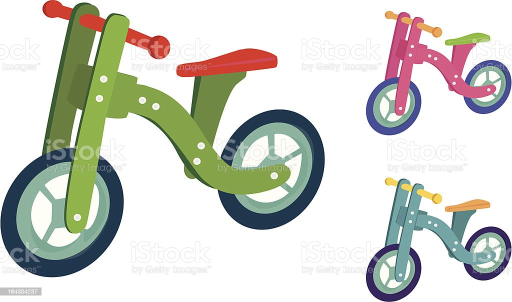 Little wood tricycle for kids in funny colours vector art illustration