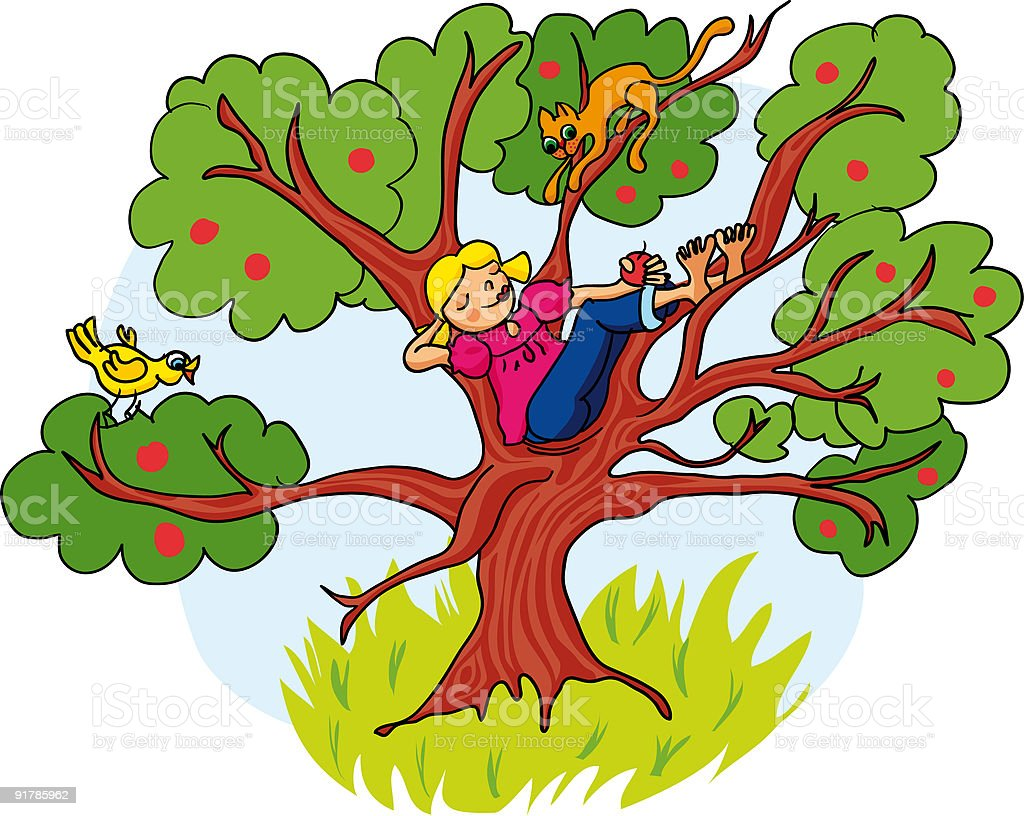 LittleGirlDayDreamingOnTree vector art illustration