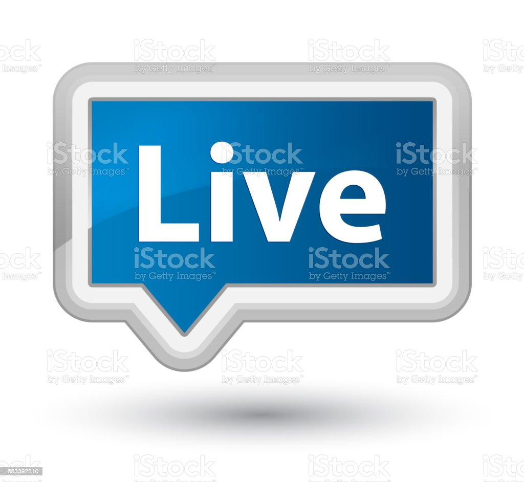 Live prime blue banner button vector art illustration