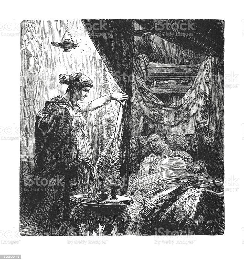 Livia at the death-bed of Augustus (antique engraving) royalty-free stock vector art