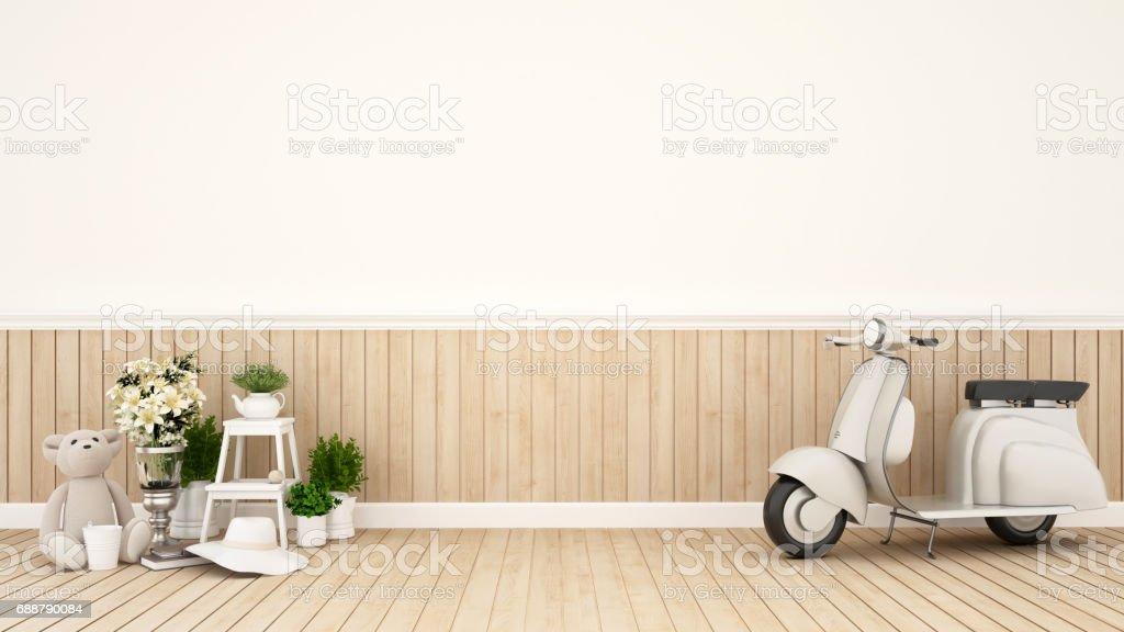 Sala de estar em um apartamento ou um café - 3D Rendering - ilustração de arte em vetor