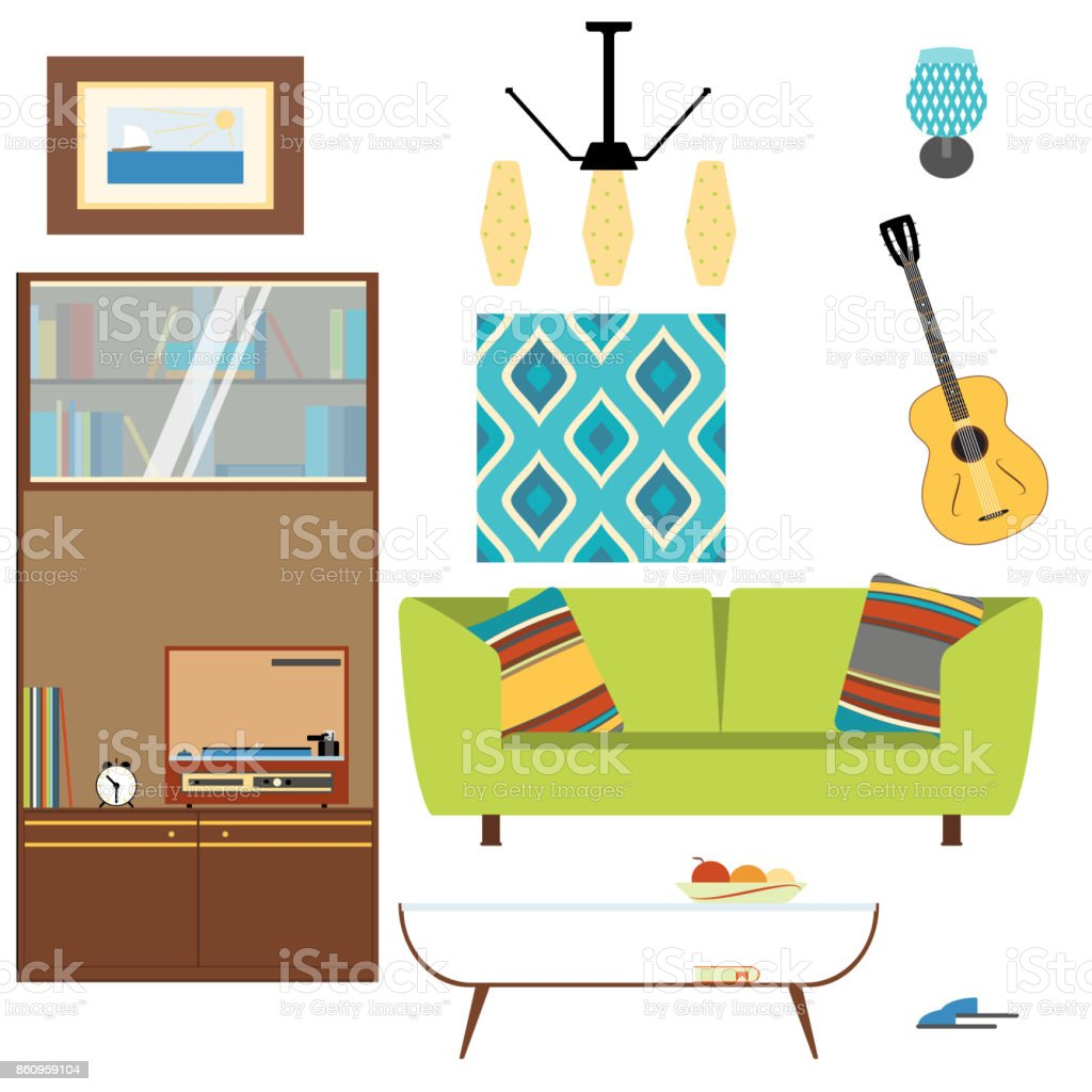 Living Room Interior Objects Collection With Sofa Table Sleepers Cupboard Brace Guitar Picture And Chandelier In The Style Of 70s Stock Illustration Download Image Now Istock