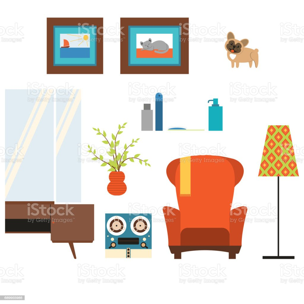 Elegant Living Room Isolated Objects In The Style Of The 70u0027s Royalty Free Stock  Vector Art Part 24