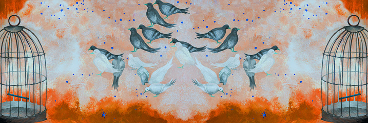 llustration modern work of art my original oil painting on canvas allegory horizontal symbolic picture free birds pigeons pecking gold grains on the sky and in the clouds and an open bird cage