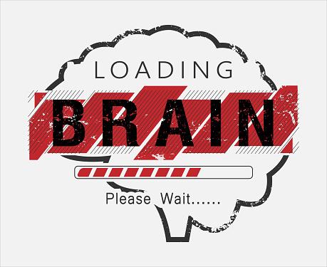 Loading brain please wait vector t-shirt design.