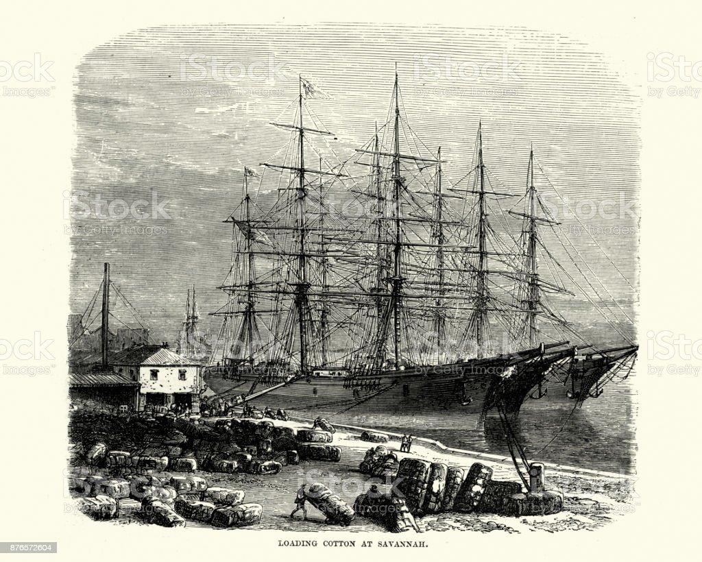 Loading Cotton On To Ships Savannah Georgia 19th Century