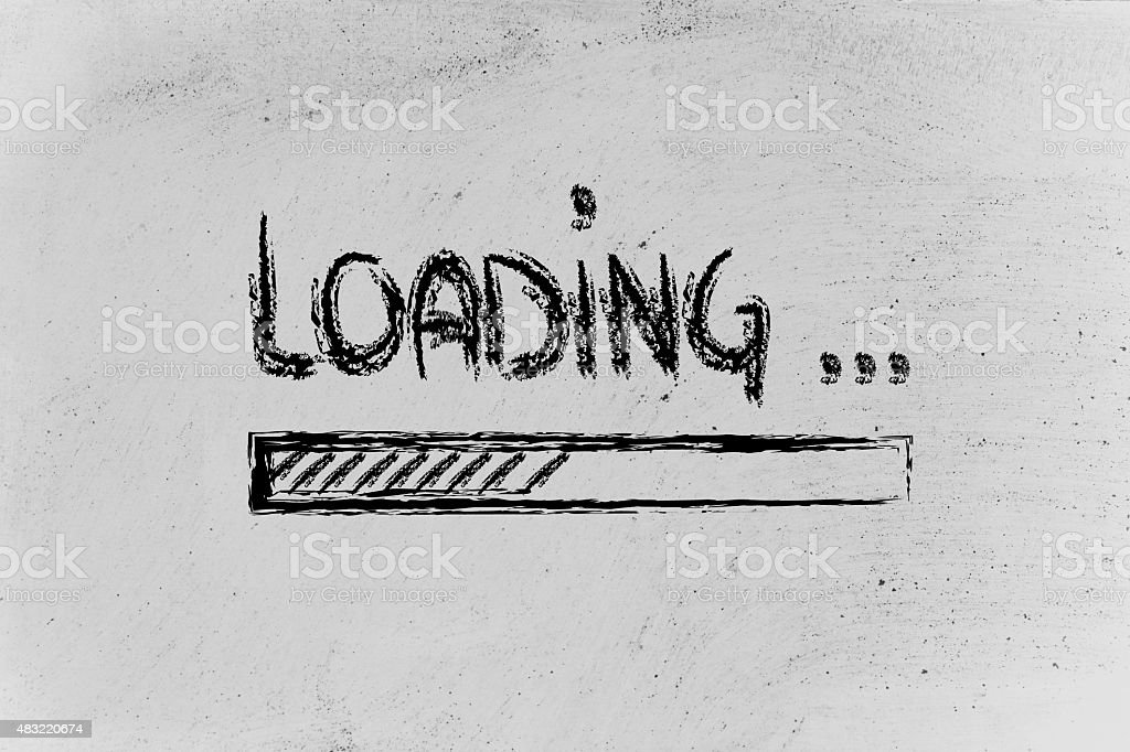 loading, progress bar on blackboard vector art illustration