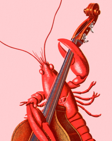 Lobster Playing an Upright Bass
