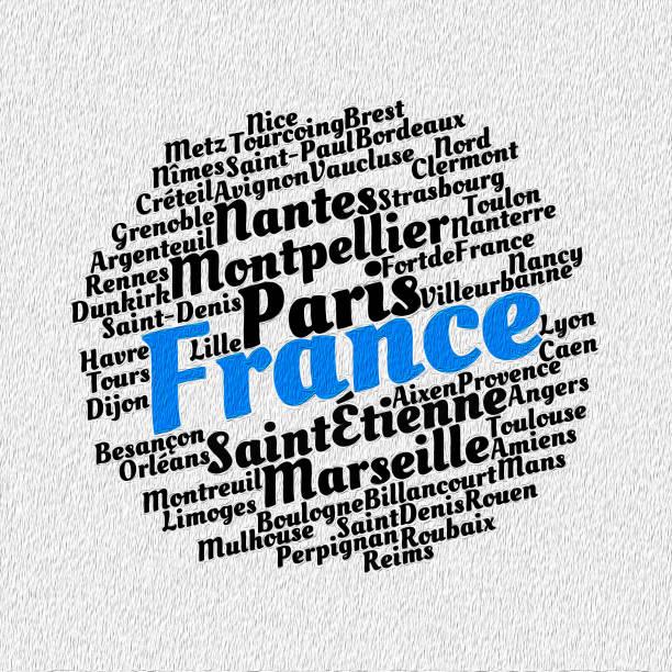 illustrations, cliparts, dessins animés et icônes de localités dans le concept de cloud pour le mot france - aix en provence